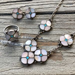 Vintage Jewelry - Vintage Zuni Sterling Flower MOP & Turquoise Set